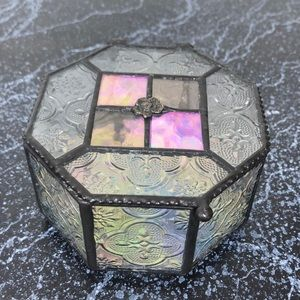 Vintage iridescent glass curio jewelry box